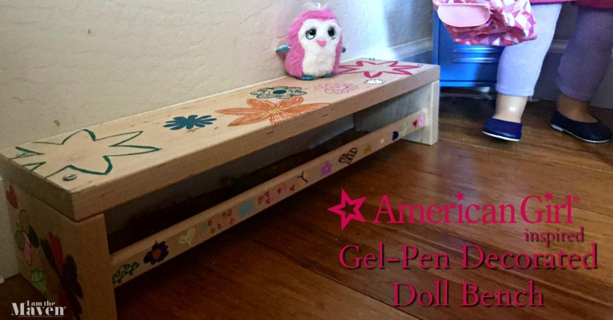 doll bench decorated with pens