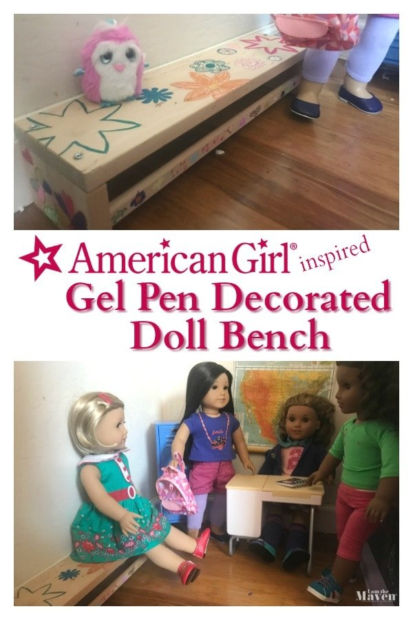 gel pen decorated doll bench