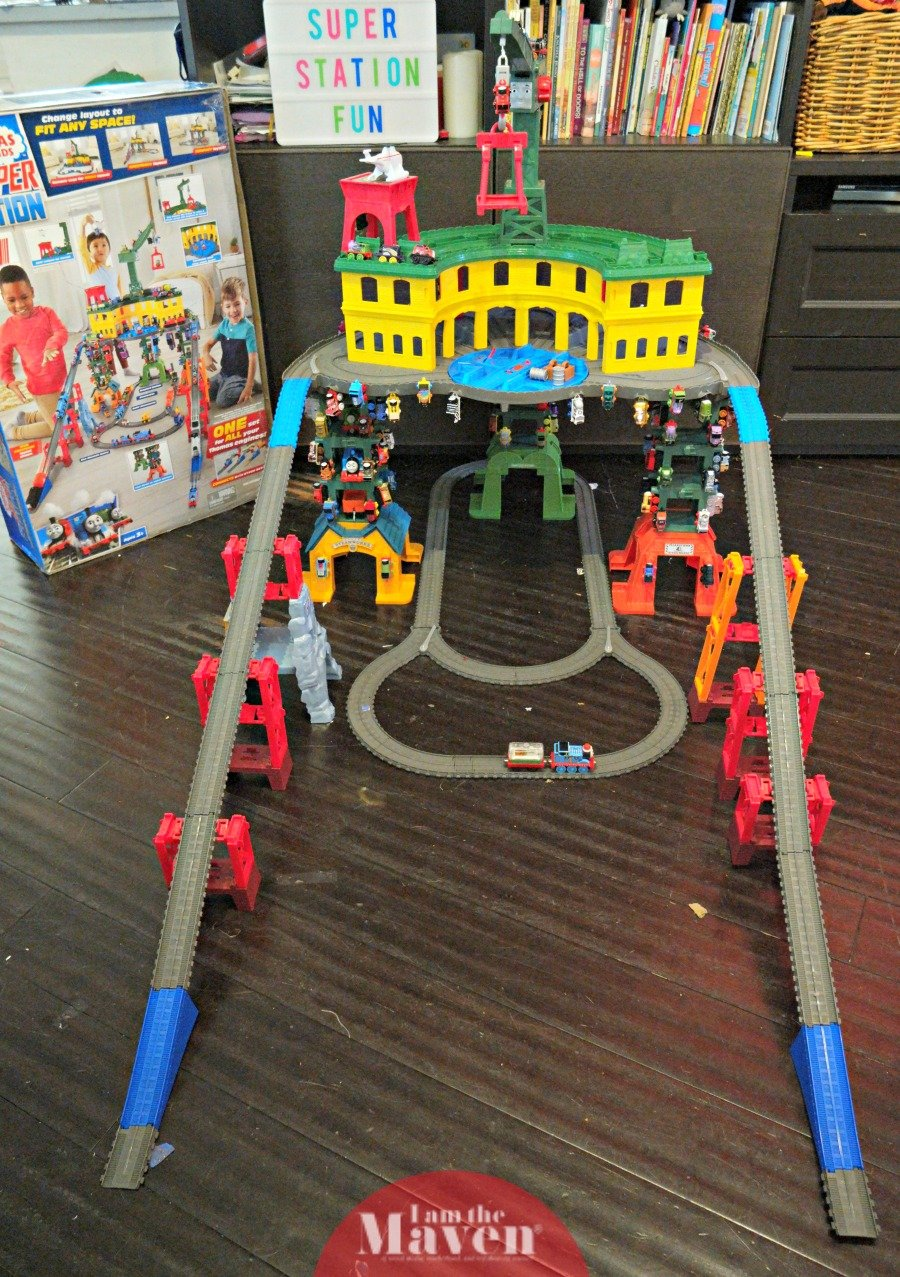Thomas & Friends Super Station set up with trains on it
