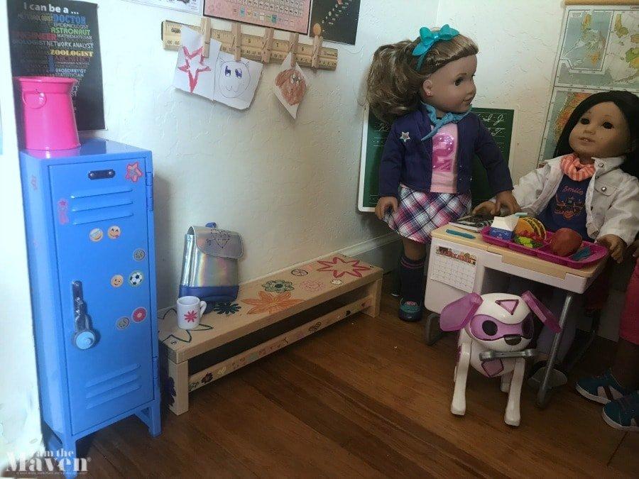 dolls in pretend schoolroom