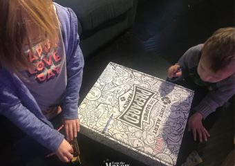 kids coloring a box