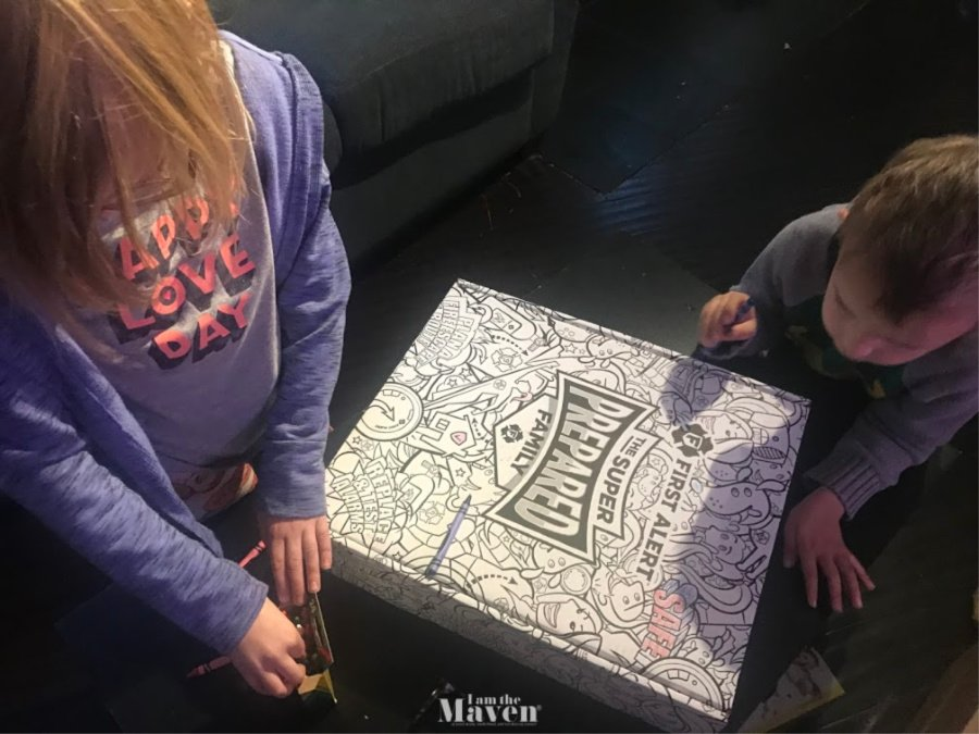 kids coloring a box