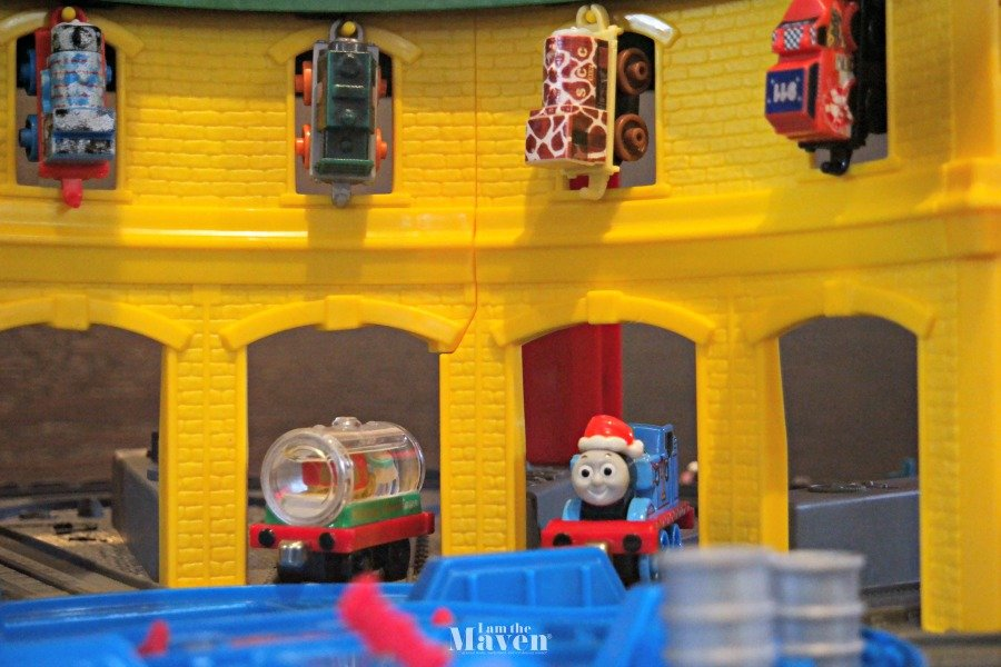 Christmas decorated train on Thomas & Friends Super Station