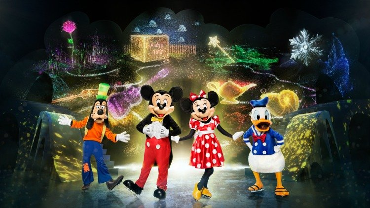 goofy, mickey, minnie and donald on ice skates
