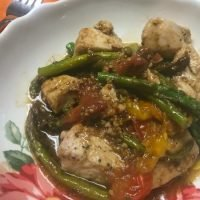 chicken and veggies in a bowl