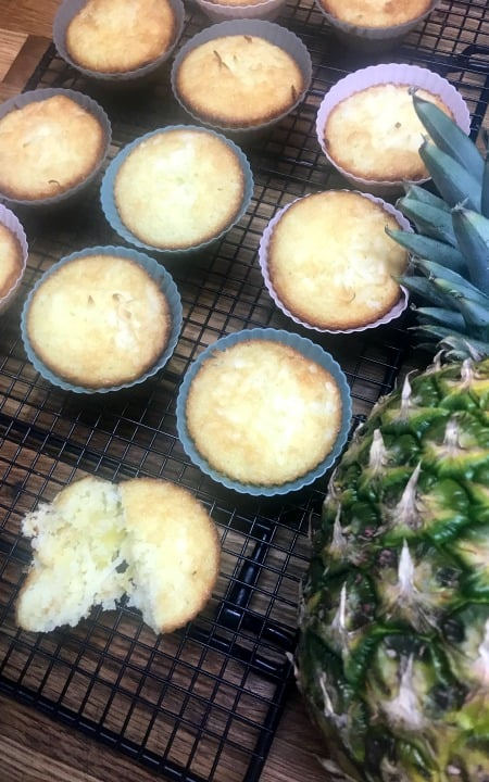 muffins and a pineapple