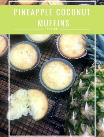 pina colada muffins on a cooling rack