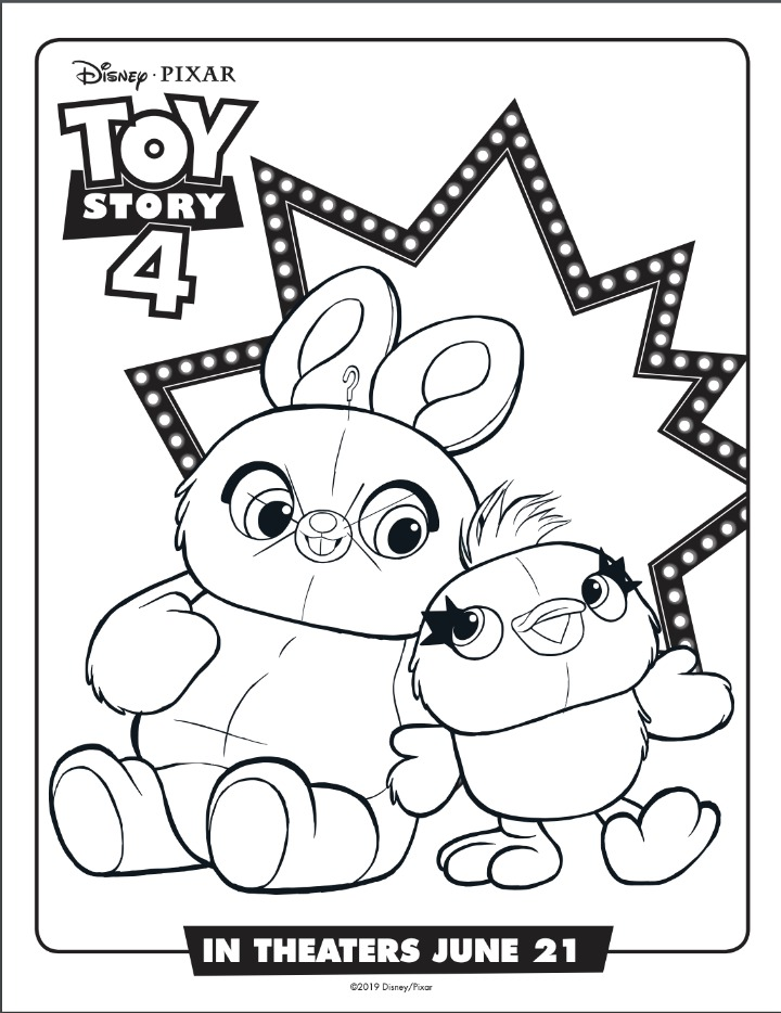 Ducky and Bunny Coloring Sheet