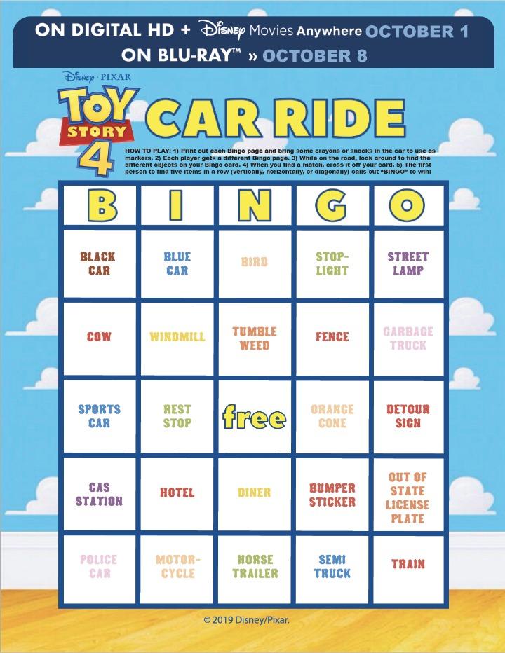 Toy Story 4 Bingo Card
