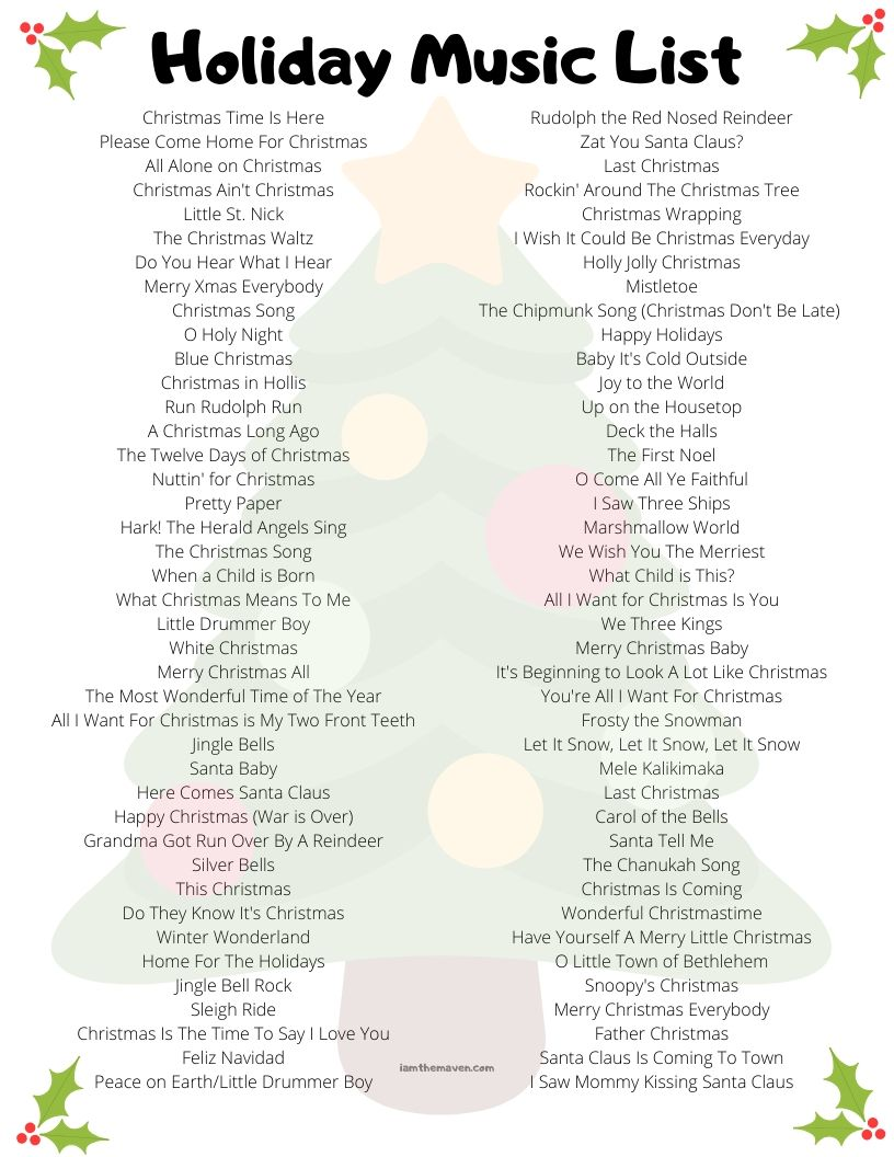 list of christmas songs