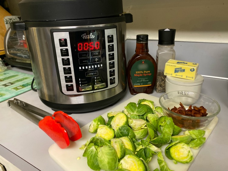 fissler multi pot and ingredients for brussels sprouts