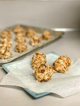 easy peanut butter balls on blue plate