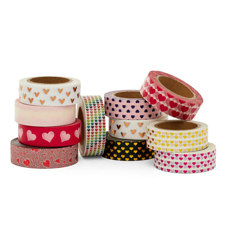 rolls of heart washi tape