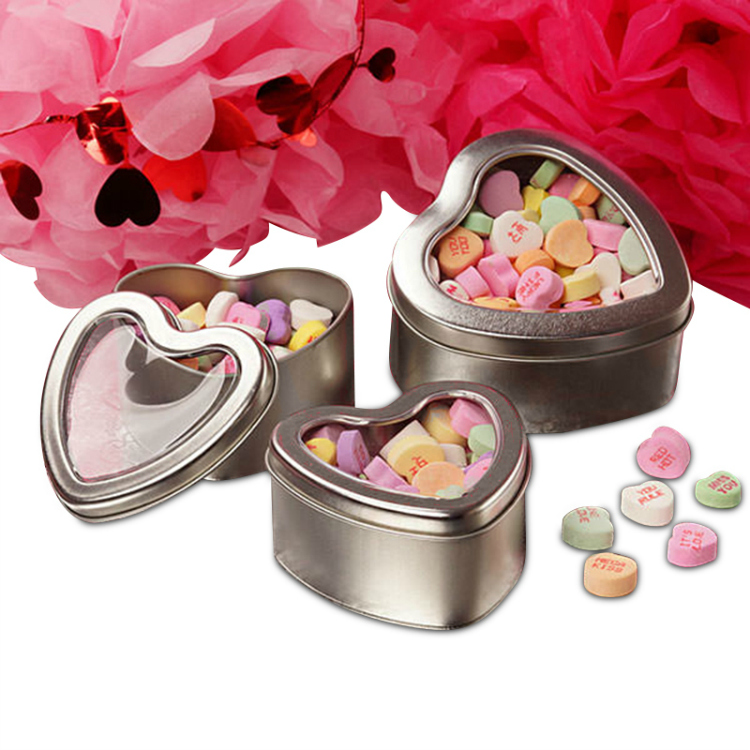 heart shaped metal tins full of candy