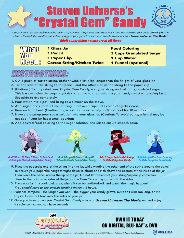 crystal candy instruction sheet