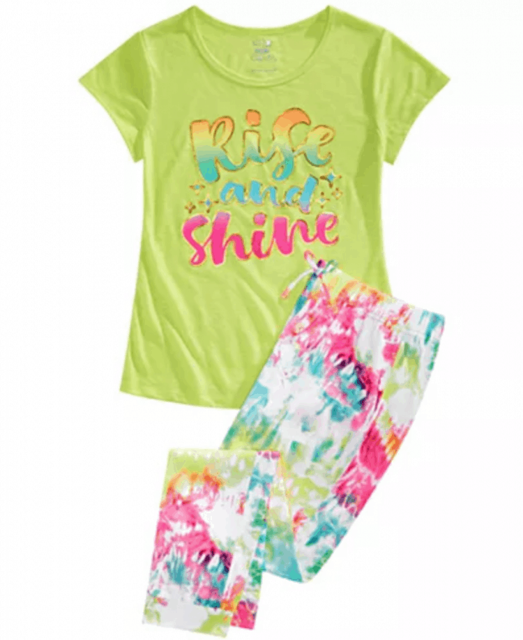 colorful pajamas that say rise and shine on the shirt