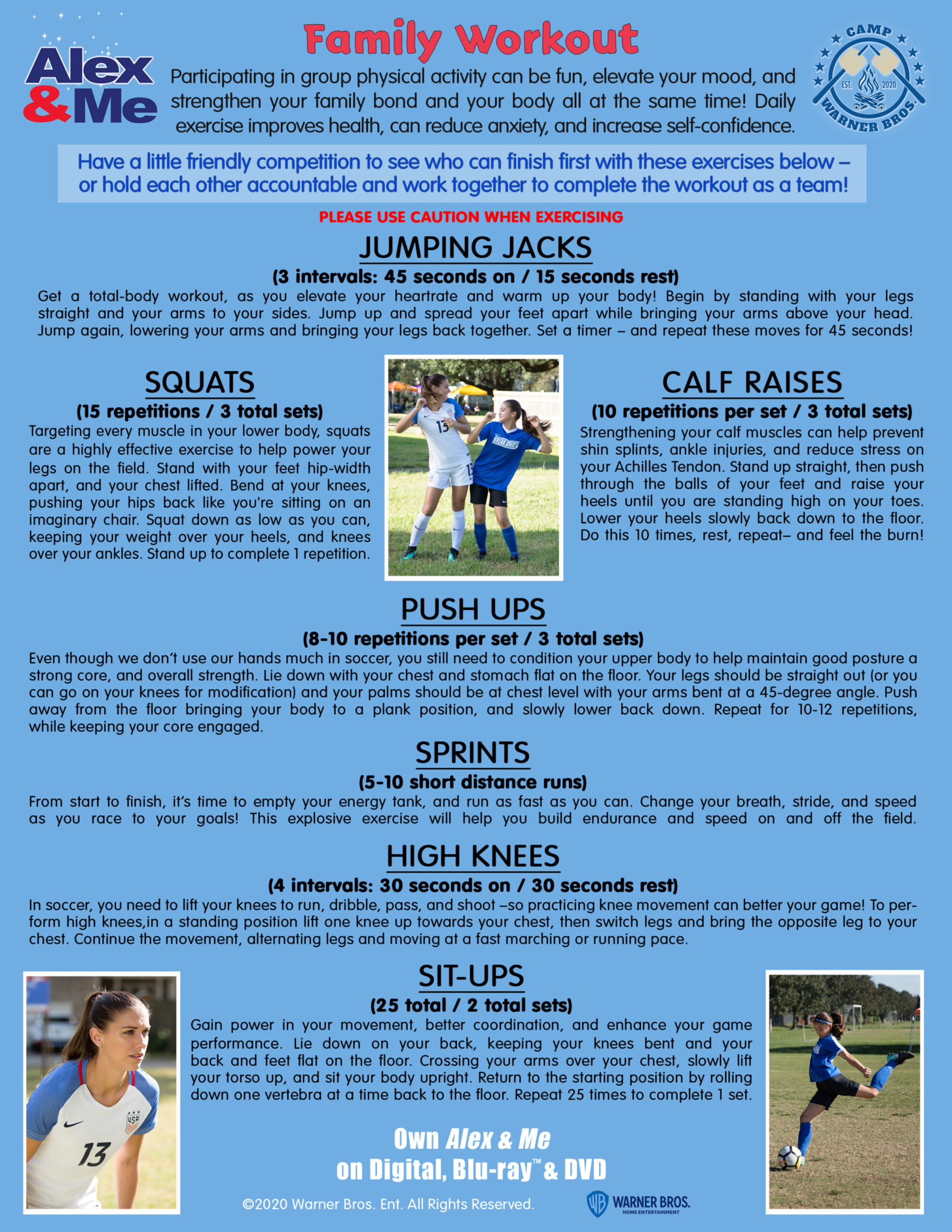 printable page with descriptions of exercises to do as a family