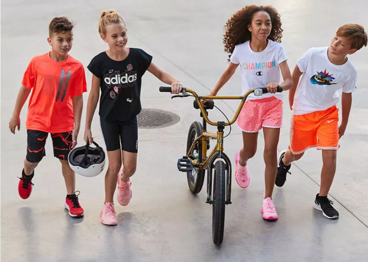 group of kids wearing active wear