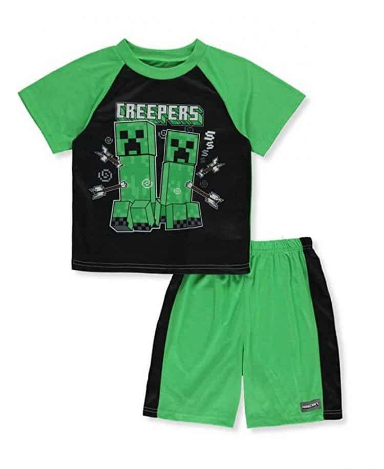 minecraft pajamas. shirt and shorts