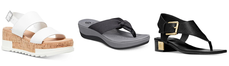 3 single sandals on a white background