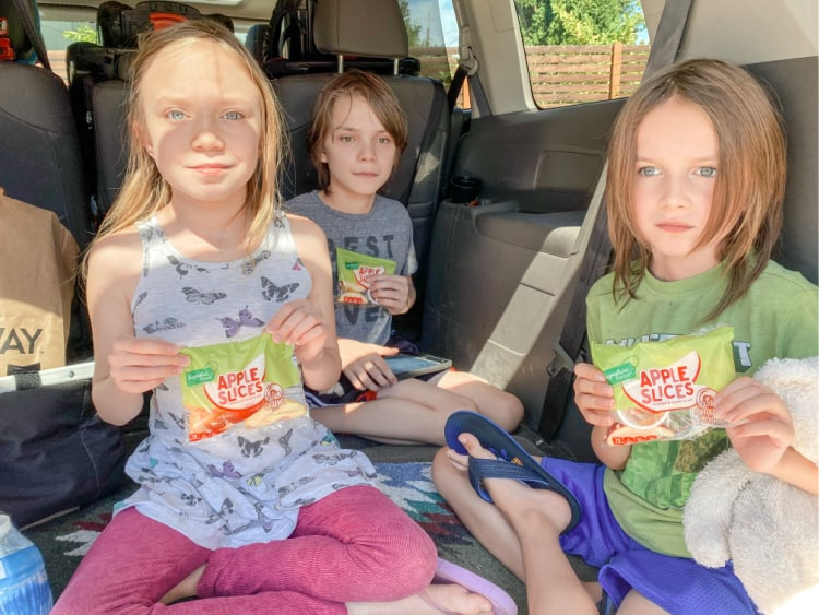 kids with bags of apple slices in the back of a van having a picnic