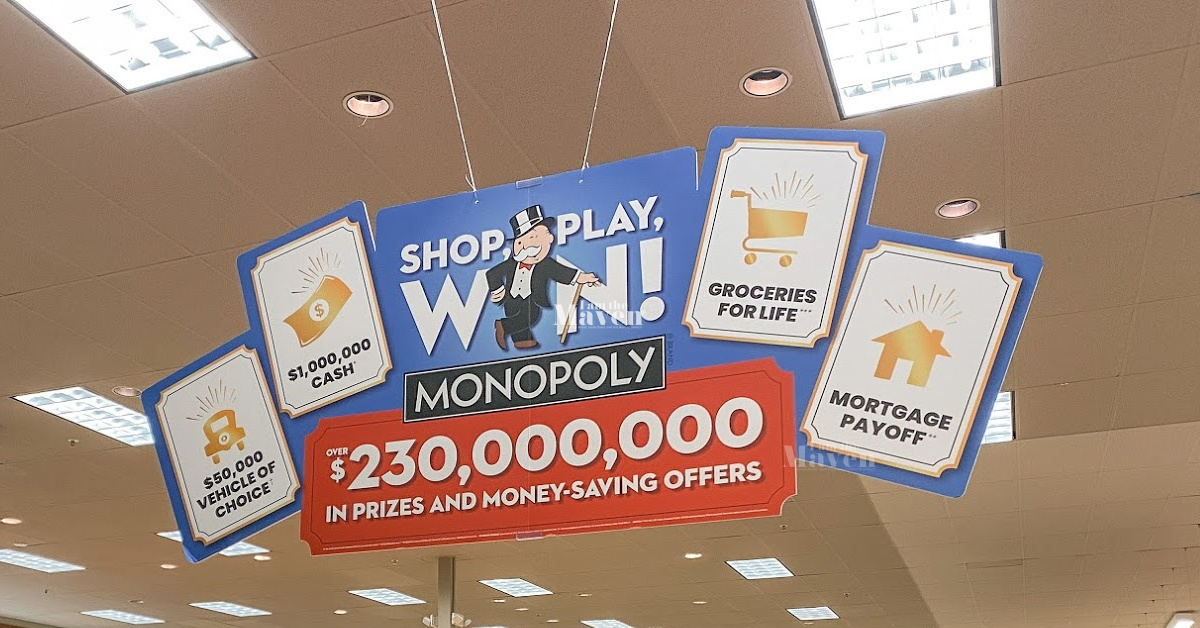 shop play win sign hanging from ceiling