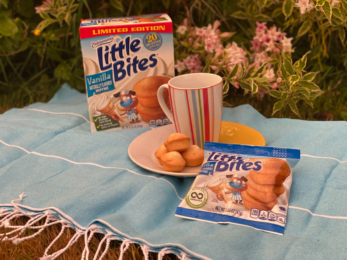 little bites muffins on a plate with a mug and blue blanket